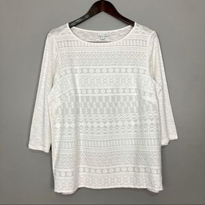 J. Jill Embroidered Knit Top Boat Neck 3/4 Sleeves